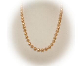 Vintage Pearl Necklace, Single Strand, Light Butterscotch, Vintage 1980's