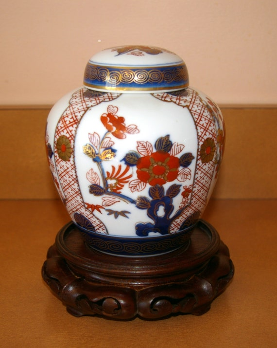 Ginger Vase with Lid Gold Imari Porcelain Japanese Hand Painted with Wooden Stand  Vintage 1970's or earlier
