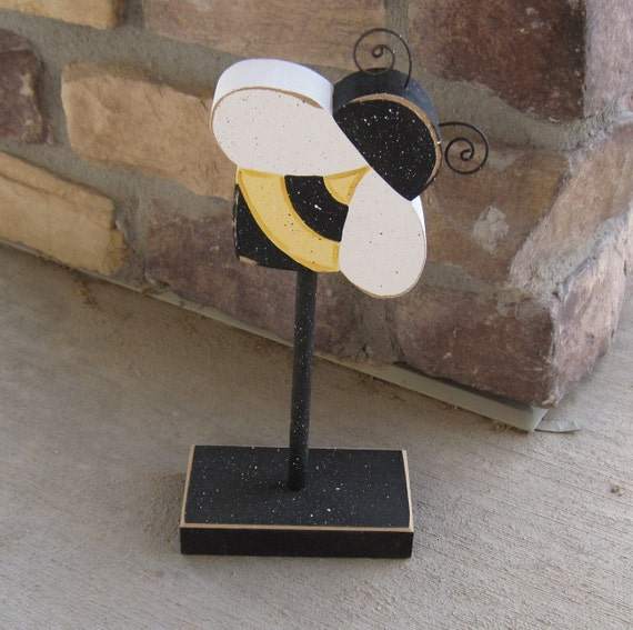 Bee Home Decor: Tall Standing BUMBLE BEE Block For Bee Decor Girl Room By