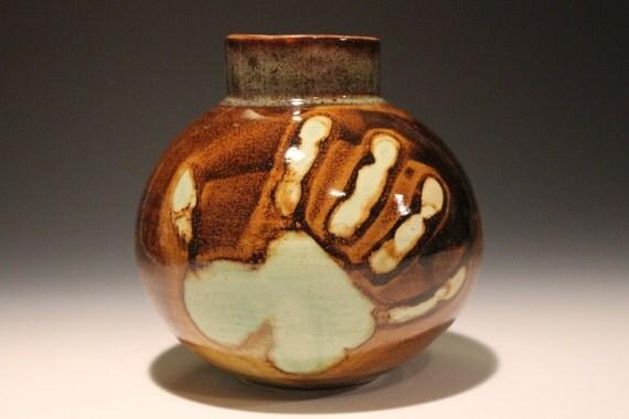 Ceramic Vase with Hand Print Glaze and Drips, Ikebana Pot Storage Jar Sphere