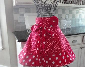 Retro Red ~ Annabelle Style ~ Women's HALF Kitchen Hostess Apron - 4RetroSister