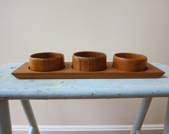 Midcentury Modern Teak Tray with 3 Bowls Thailand Perfect Serving Accessory for Snacks or Condiments Danish Scandinavian Style