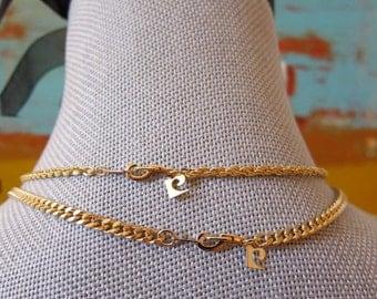 70s Pierre Cardin Signature C Charms Gold Plated 2 Interlocking Chain Necklaces Plus Bracelet Set Multi Convertible Length Designer Jewelry