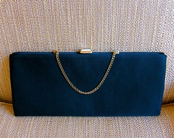 After Five Kitsch Clutch Evening Purse Oversized Black Satin Rhinestone Studded Gold Tone Clasp Short Retractable Chain Chic