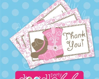 Cowgirl Birthday Party Favor Tags - Pink and Brown Paisley Cowgirl Thank You Tags - Girl Western Party - PRINTABLE, INSTANT DOWNLOAD