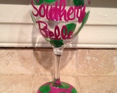 Hand Painted Southern Belle Wine Glass