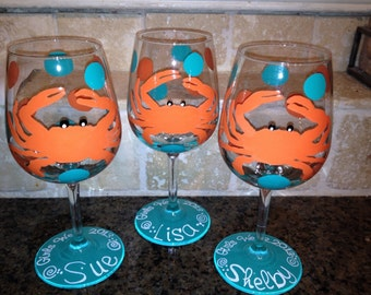 Hand painted Crab wine glass