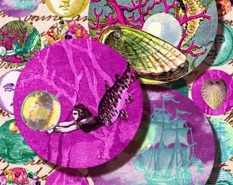 Underwater Treasures Mermaids digital collage sheet Instant Download 1.5  inch circles printable 070