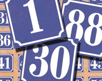 Blue and White 1-100 French enamel house numbers 1x1 inch collage sheets Instant Download 092