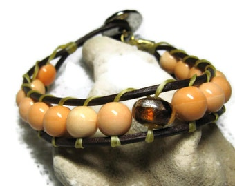 Porcelain Bead and Leather Bracelet