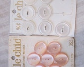 14 Vintage Pearly Peachy Pink and White Buttons size 30 and 36 2 Hole