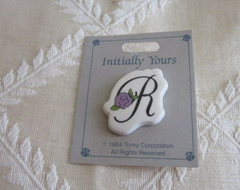 Ceramic Letter R Initial Pin Brooch Vintage 1980s with a Purple Flower