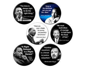 """6 Small MLK Pins or Magnets - Pack of 6 Small 1.25"""" Martin Luther King Quotes on Six Buttons or Magnets"""
