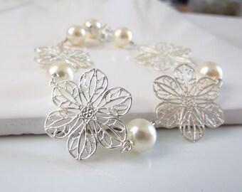 Ivory Pearl Bracelet, Lacey Flower Bracelet, Silver Flower and Pearl Bracelet, Handmade Wire Wrapped Bridal Jewelry, Bridesmaid Bracelet