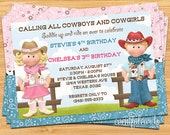 Cowboy and Cowgirl Joint Sibling Kids Birthday Party Invitation