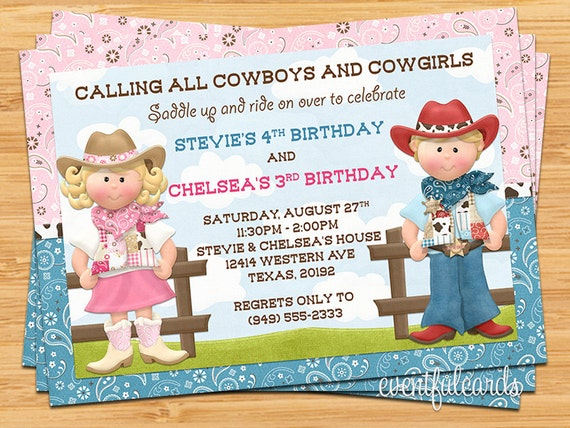 cowboy and cowgirl joint sibling kids birthday party, Party invitations