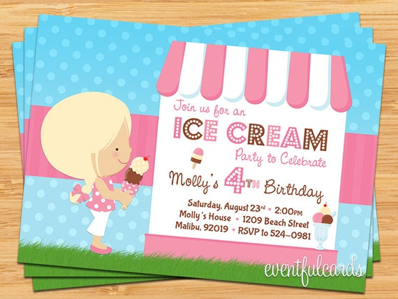 ice cream birthday party invitations – gangcraft, Party invitations