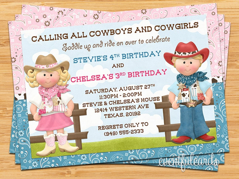 Cowboy and Cowgirl Joint Sibling Kids Birthday Party