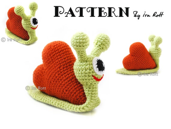 PATTERN - Cupid The Love Snail - Stuffed Alien Monster - Animal Toy - Crochet PDF Pattern