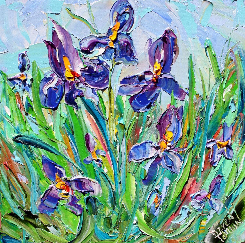 Original Oil Painting Iris Garden On Canvas By Karen Tarlton