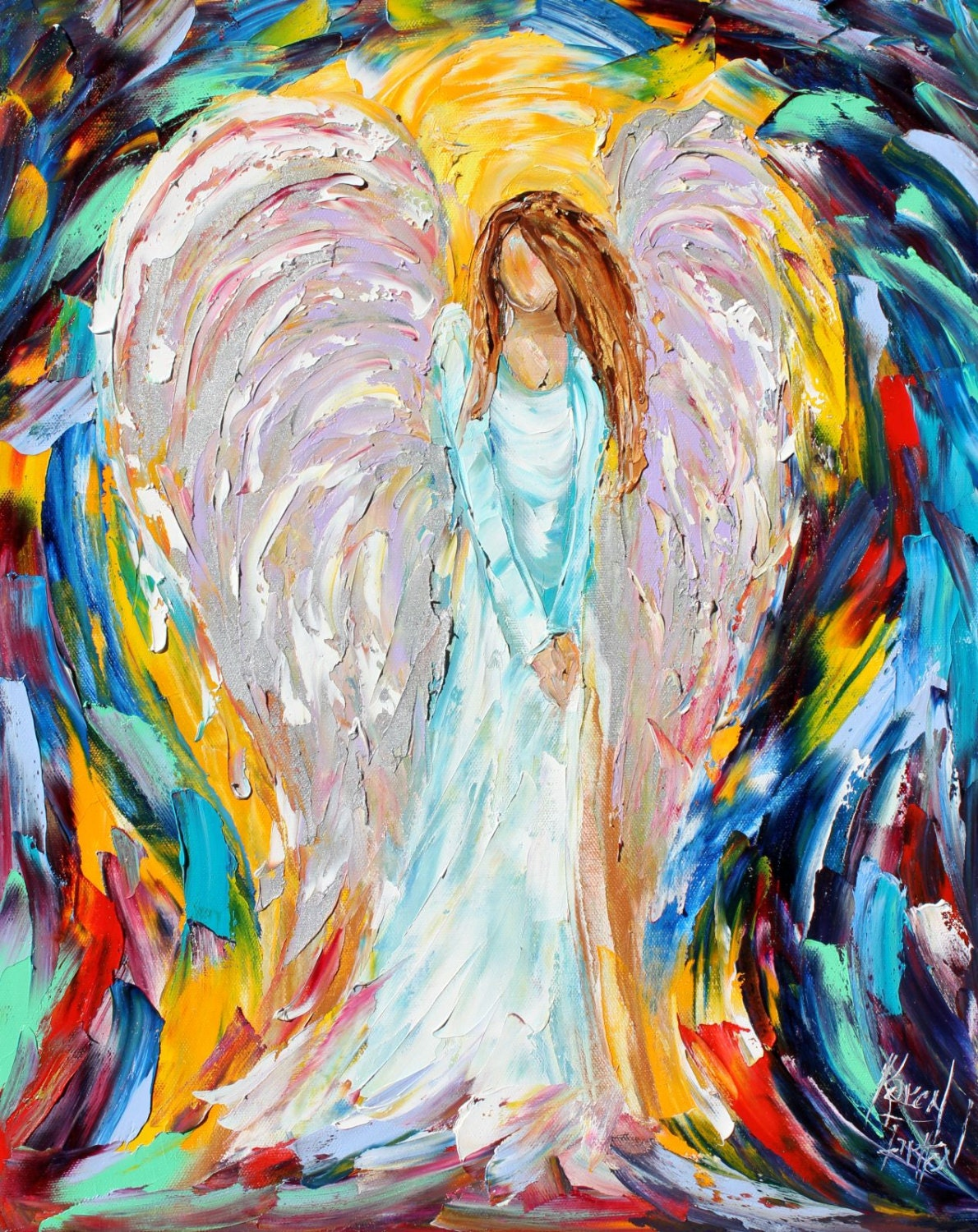 Original Angel PALETTE KNIFE oil painting Abstract fine art