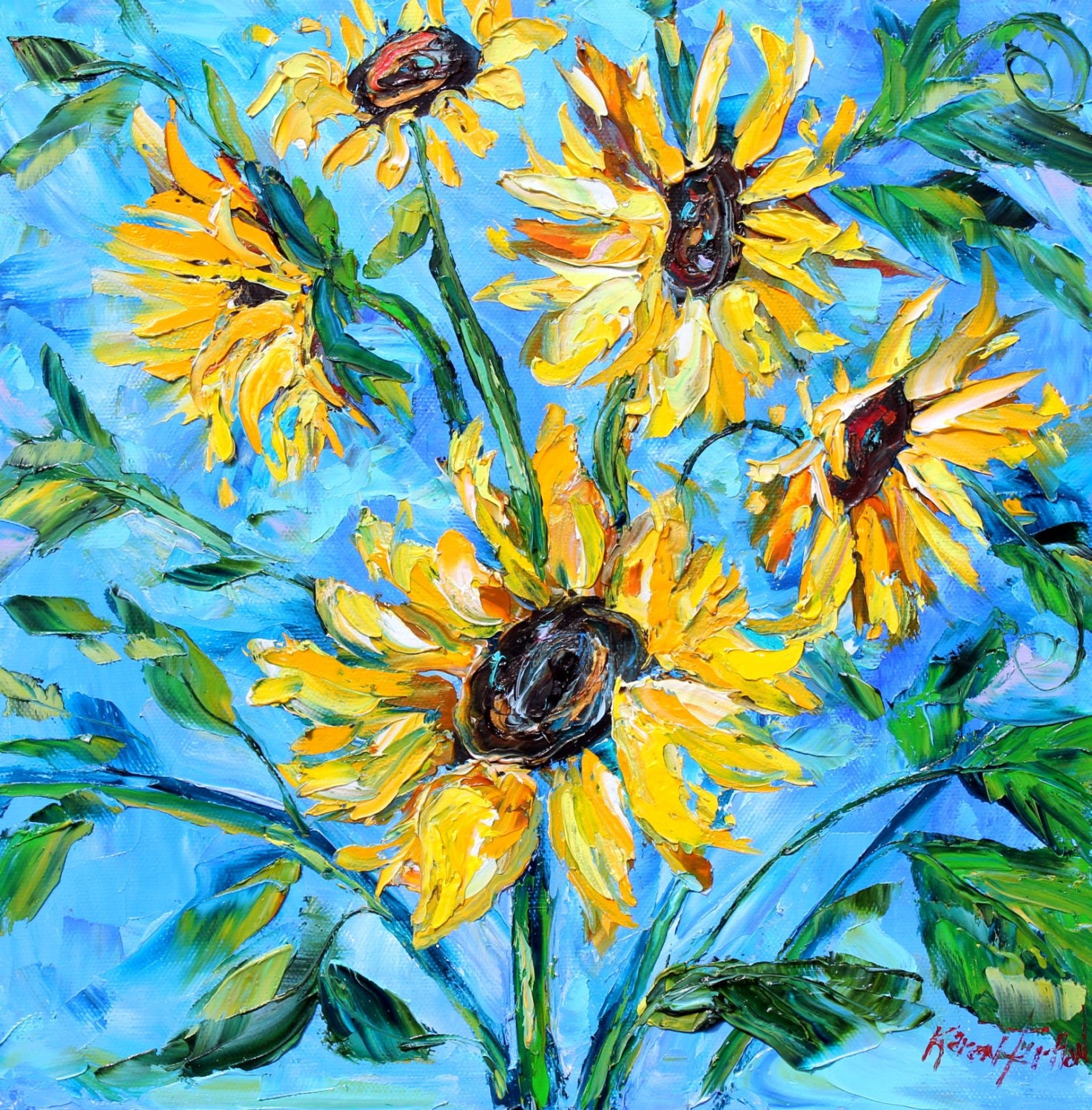 Original oil painting sunflower flowers on canvas by karen for Flower paintings on canvas