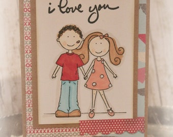 Valentine Anniversary Card I Love you Handmade