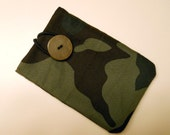 Gift Card Holder: made from recycled wool and lined with fabric.  Camouflage fabric lined with soft black flannel.