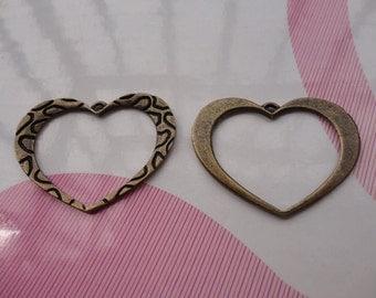 10pcs antique bronze heart findings 35x25mm