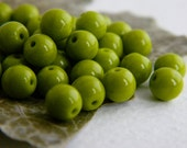 Czech Glass Druk Beads 6mm  Opaque Green (40pcs) NEW