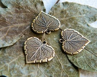 Brass Heart Leaf Charms  Antique Brass USA Made 16x17mm (8pcs) NEW