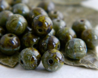 Czech Glass Druk Beads 6mm  Opaque Olive with Speckled Olive & Brown Picasso  (40pcs) NEW