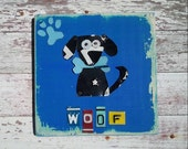 Funky Dog Black on Peacock Aqua with Baby Blue Bone Paw Woof Nursery Boy Toddler Animal Custom License Plate Art Recycled States