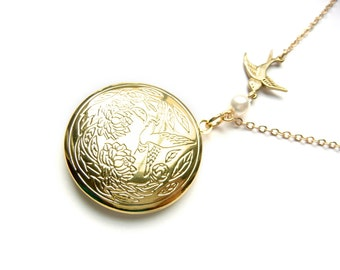 Gold Bird Locket With Flying Swallow And Pearl, Bird Locket, Sparrow Locket, Gold Plated, Round Locket