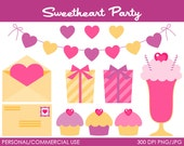Sweetheart Party Clipart - Digital Clip Art Graphics for Personal or Commercial Use