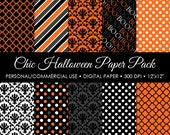 Orange Chic Halloween Digital Printable Paper Pack - For Commercial or Personal Use