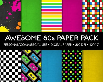 Awsome 80's Digital Printable Paper Pack - For Commercial or Personal Use