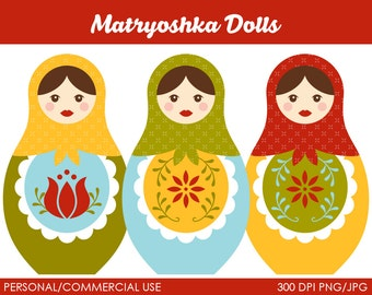 Matroshka Dolls Clipart - Digital Clip Art Graphics for Personal or Commercial Use