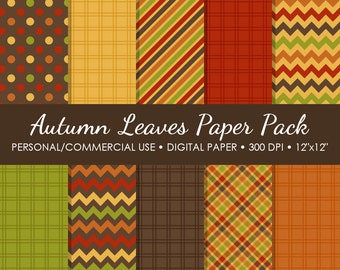 Autumn Leaves Digital Printable Paper Pack - For Commercial or Personal Use