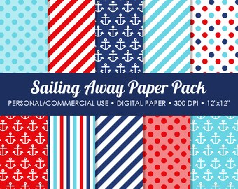 Sailing Away Digital Printable Paper Pack - For Commercial or Personal Use