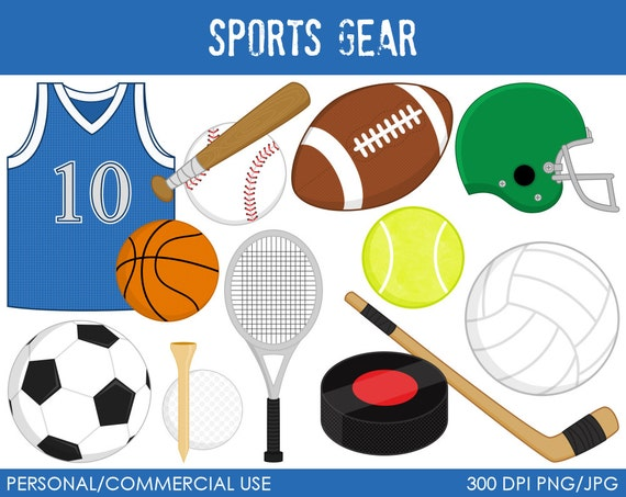 Sports Gear Clipart - Digital Clip Art Graphics for Personal or Commercial Use