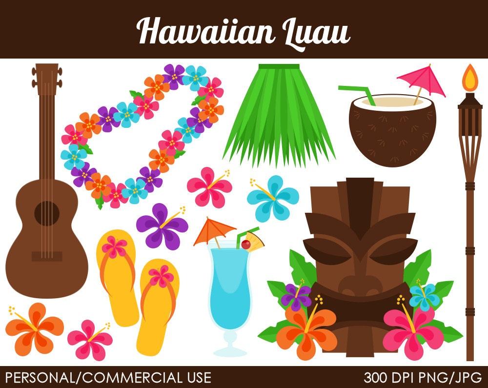 Hawaiian Luau Clipart Digital Clip Art Graphics by ...