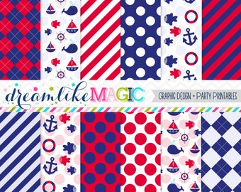 Red and Navy Nautical Themed Digital Paper Pack for Personal or Commercial Use