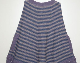 Poncho, Cape for women.Hand knit . UNIQUE. Wool. Fringed. Slit pockets.  Purple ,Navy , Gray stripes. Hand knitted. Ready to ship