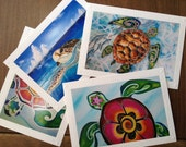 Sea Turtle note card Set - 4 Different Embossed Art Greeting Cards / Note Cards with envelopes