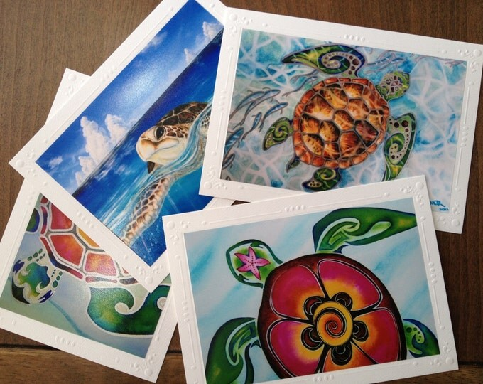 Tropical Sea Turtle note card Set - 4 Different Embossed Art Greeting Cards / Note Cards with envelopes (Also Framable!) *;D