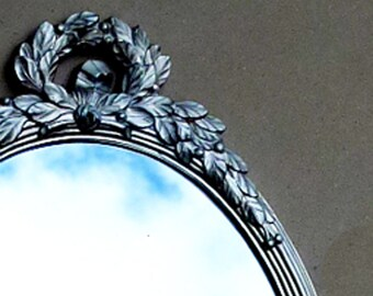 20% OFF SALE . . . French Simplicity MIRROR . . . Silvered Garland / Laurel Wreath, Vintage Syroco