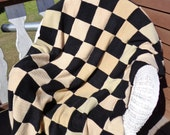 Cashmere Patchwork Throw in Black and Tan