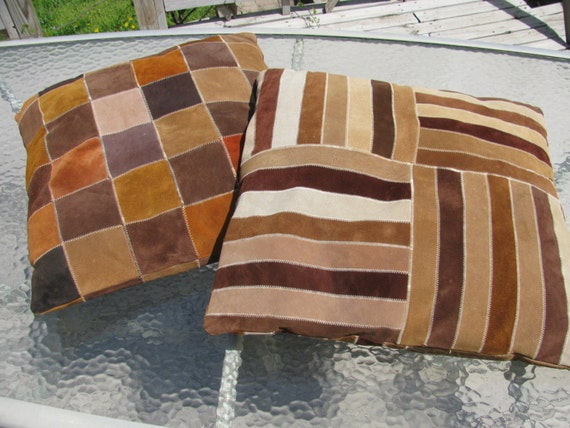 2 Vintage Suede Leather Pillows 1970 S Floor Cushions