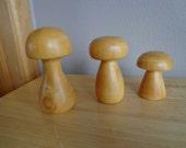 Vintage Trio of Wooden Mushrooms